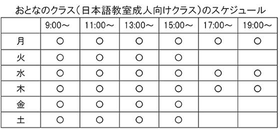 おとなのクラス(日本語教室成人向けクラス)のスケジュール