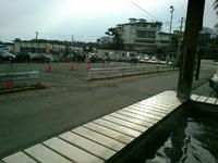 松島温泉の足湯に浸かりつつかき小屋の順番を待つ