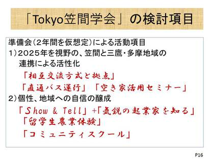 Tokyo笠間学会の検討項目