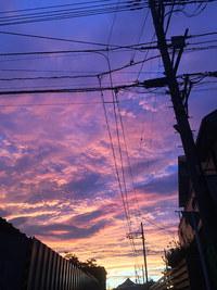9月12日 夕焼け前のw虹と夕焼け。