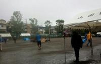 無念の途中で中止…雨天の山田まつり会場設営