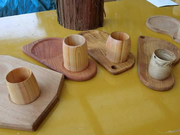 ユギムラ牧場で木工工房で「ぐい呑み作って多摩の酒をのむ会」