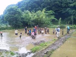 里山保全地域指定地内での泥んこ運動会