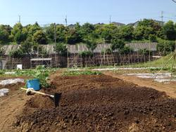ユギムラ牧場 農業体験農園の苗植え指導中