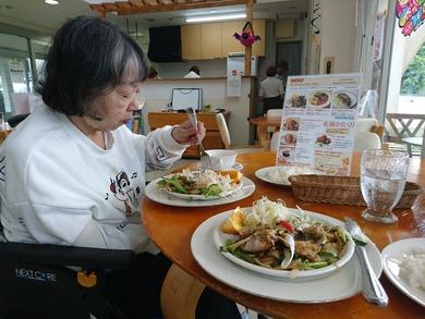 生姜焼きを食べていました。