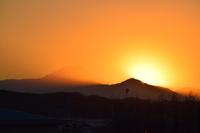 夕日と富士山のコラボ