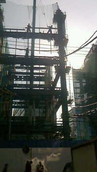 調布駅ビルA 棟の外構工事完成間近