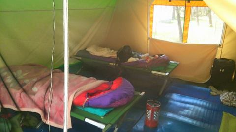 テントの内部、ベッドは持参品