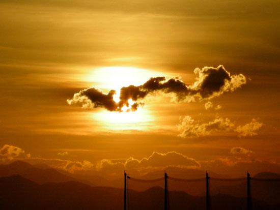 7月15日の夕日と雲