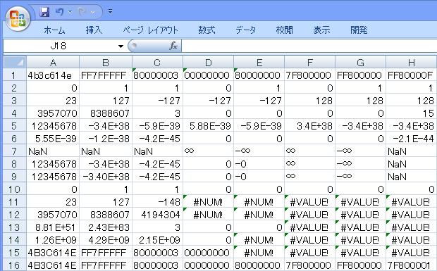 Excelで浮動小数点数変換