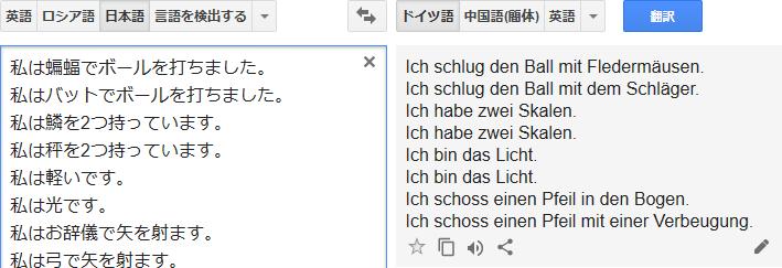 Google翻訳_英語同綴異義語テスト_ドイツ語