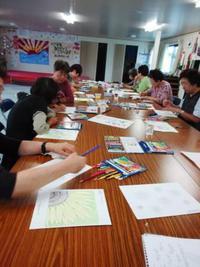 塗り絵セラピーとお茶っこ:宮城県登米市、仮設住宅